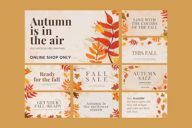 Ensemble de vecteur de modèle de vente d'automne pour la bannière de blog