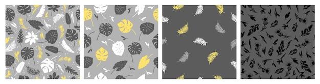 Ensemble de vecteur de modèles sans couture de fleurs de feuilles tropicales sur gris et jaune belle impression