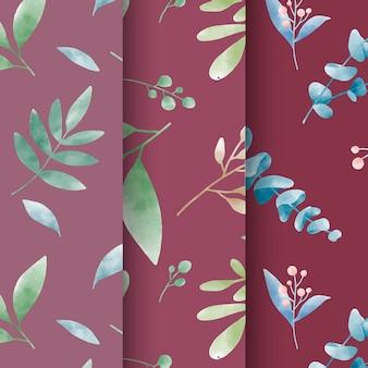 Ensemble de vecteur de motifs de feuilles aquarelle