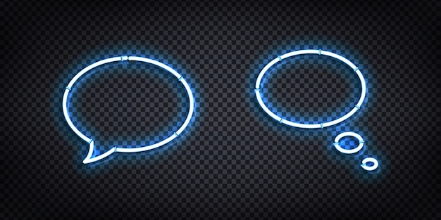 Ensemble de vecteur de néon isolé réaliste du logo speech bubble pour la conception de modèles et de maquettes.
