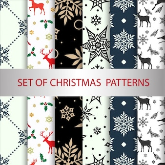 Ensemble de vecteur noël seamless patterns