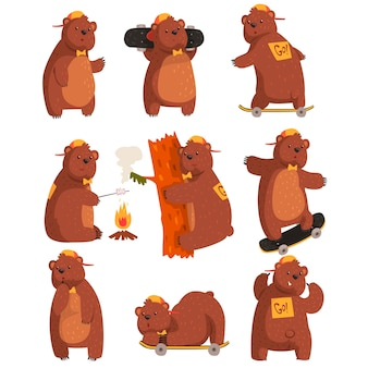 Ensemble de vecteur d'ours adolescent drôle dans diverses situations