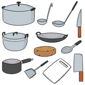 Ensemble de vecteur d'outil de cuisine