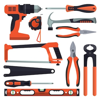 Ensemble de vecteur d'outils de construction isolé. éléments de design de style plat
