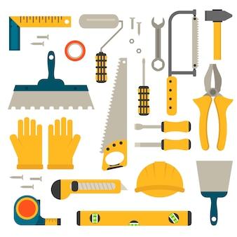 Ensemble de vecteur d'outils de construction plate.