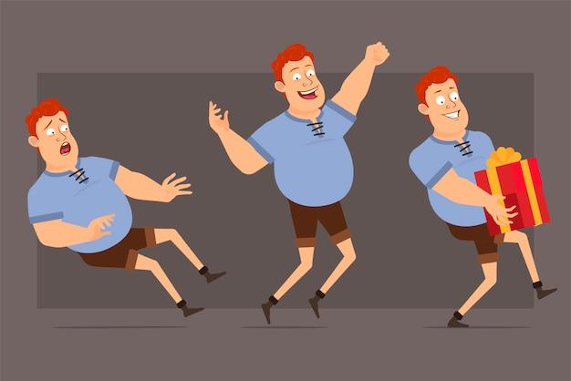 Ensemble de vecteur de personnage de dessin animé rousse gros garçon