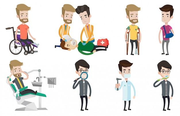Ensemble de vecteur de personnages de médecins et de patients.