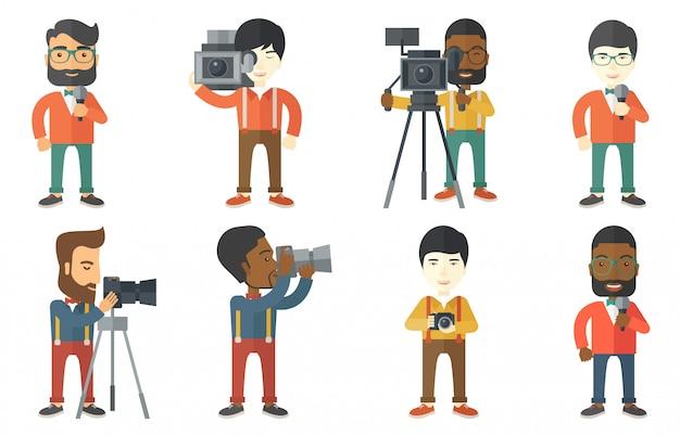 Ensemble de vecteur de personnages de médias.