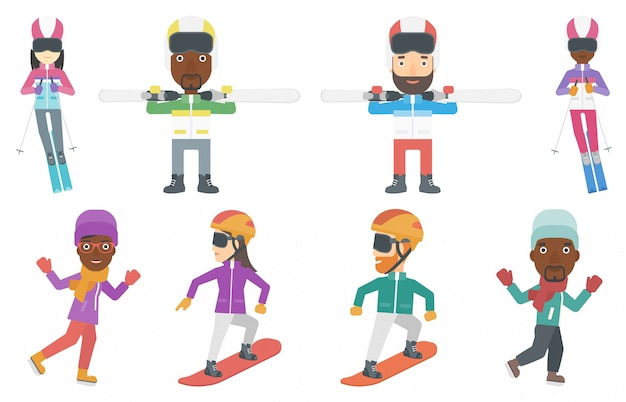 Ensemble de vecteur de personnages de sport d'hiver.