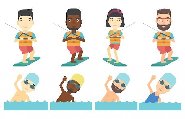 Ensemble de vecteur de personnages de sports nautiques.