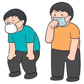 Ensemble de vecteur de personnes à l'aide d'un masque de protection médical