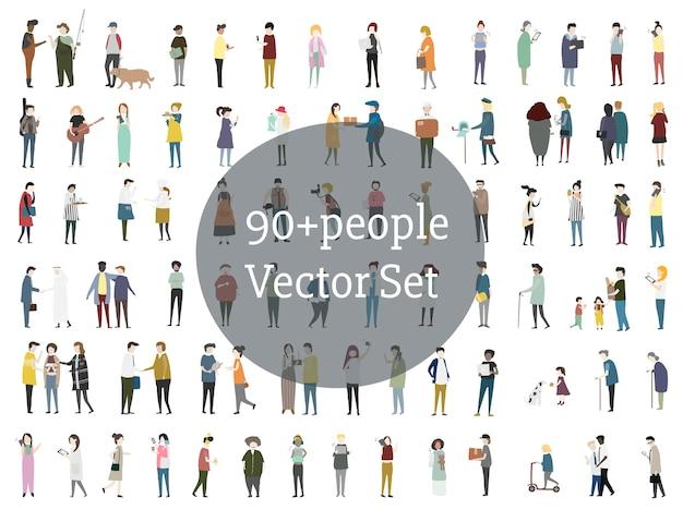 Ensemble de vecteur de personnes illustrées