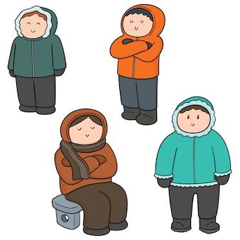 Ensemble de vecteur de personnes en vêtements d'hiver