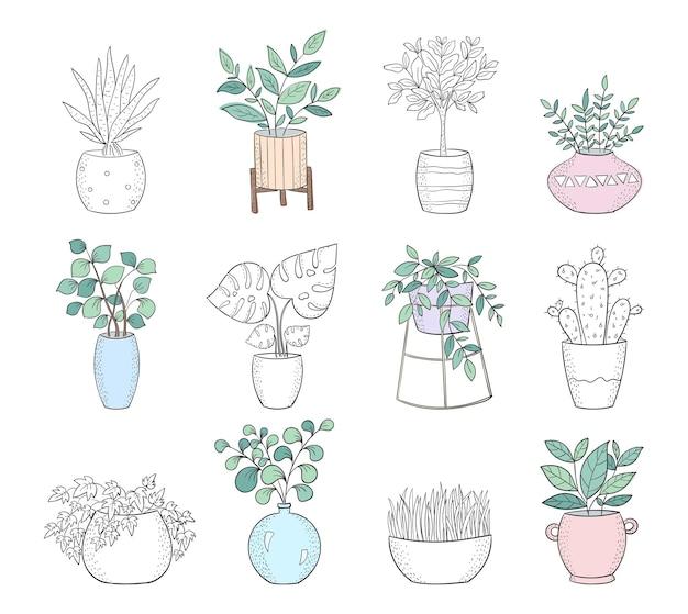 Ensemble de vecteur de plantes d'intérieur mignonnes dans des pots affiche avec un objet adorable isolé sur fond