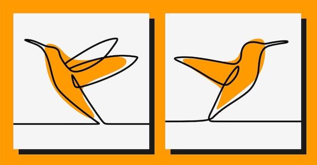 Ensemble de vecteur premium d'art en ligne continue colibri oneline