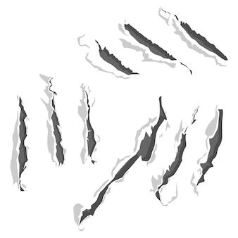 Ensemble de vecteur de rayures de griffe isolé sur fond blanc.