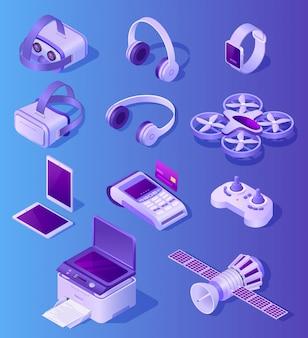 Ensemble de vecteur réaliste d'appareils électroniques modernes