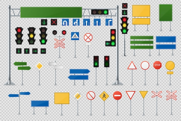 Ensemble de vecteur réaliste de panneaux de signalisation et de pointeurs