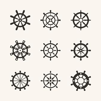 Ensemble de vecteur de roue de bateau nautique