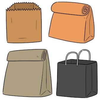 Ensemble de vecteur de sac en papier