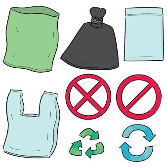 Ensemble de vecteur de sac en plastique et icône de recyclage
