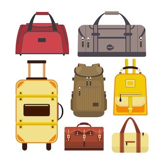 Ensemble de vecteur de sacs de voyage. illustration avec différents types de bagages isolés