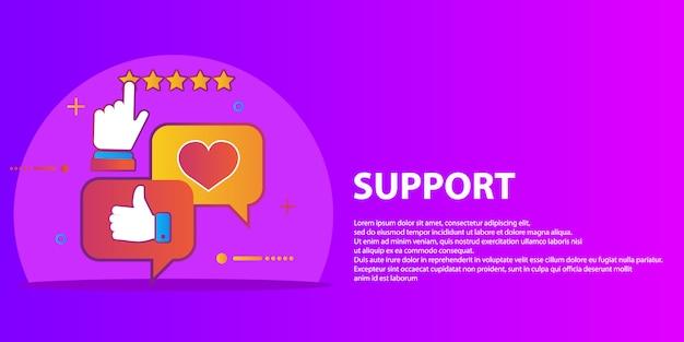 Ensemble de vecteur de service à la clientèle dans un style plat - commentaires, enquête et support