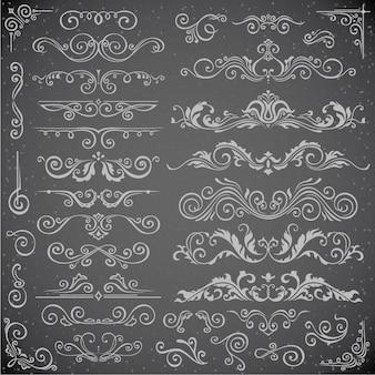 Ensemble de vecteur sombre d'éléments swirl pour frame design