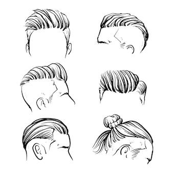 Ensemble de vecteur de style de cheveux homme hipster