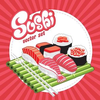 Ensemble de vecteur de sushi