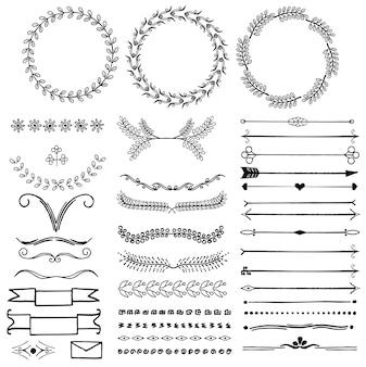 Ensemble de vecteur de symboles décoratifs dessinés à la main