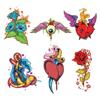 Ensemble de vecteur de tatouage