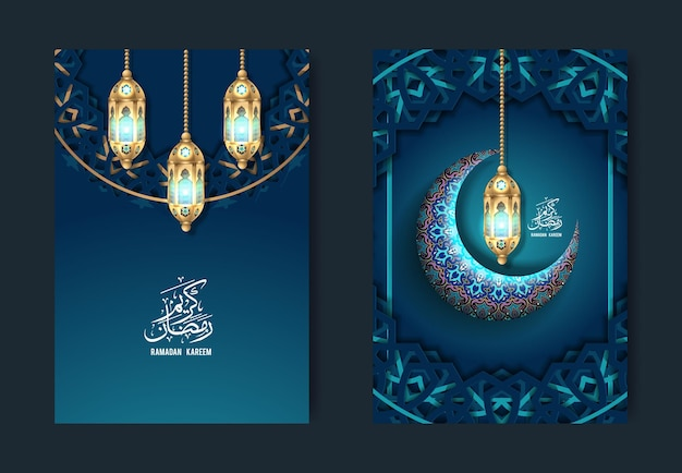Ensemble de vecteur d'en-têtes ramadan kareem et eid
