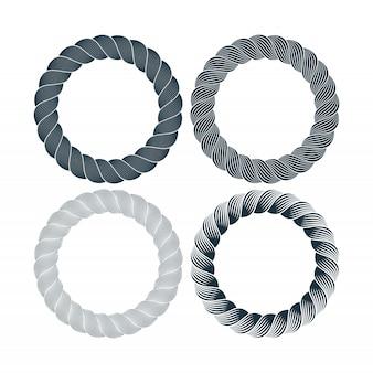 Ensemble de vecteur de trame de corde monochrome noir rond. collection de cercles épais et minces isolés