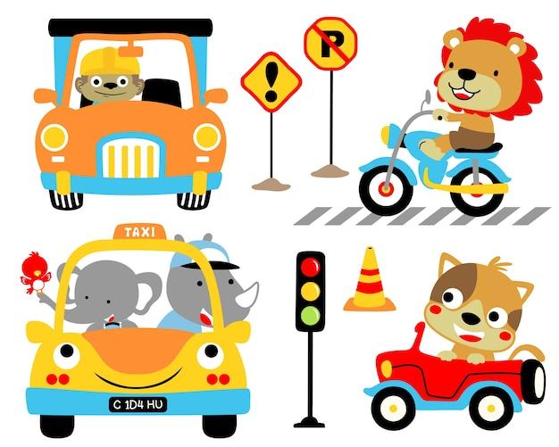 Ensemble de vecteur de véhicules de dessin animé avec des conducteurs drôles.