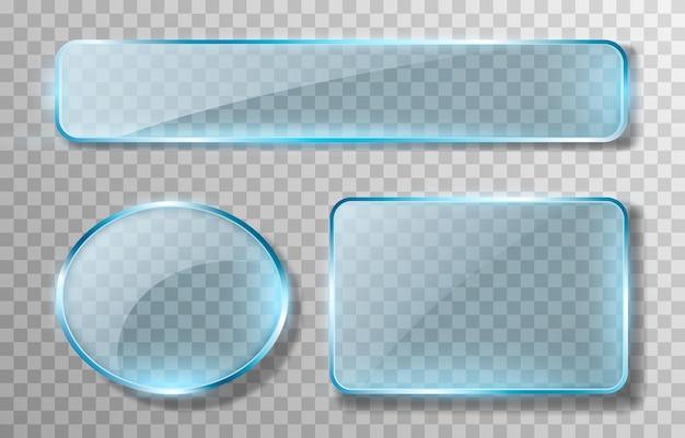 Ensemble de vecteur verre bleu effet de transparence miroir de fenêtre reflet éblouissement png verre png fenêtre cadre en verre surface en verre