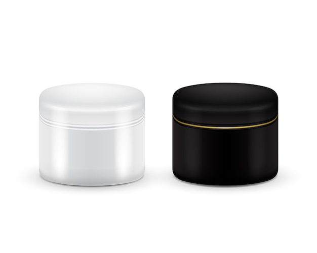 Ensemble de vecteur vide conteneur cosmétique pour crème, poudre ou gel. couleur noire et blanche conteneur cosmétique maquette.