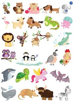 Un ensemble de vecteurs d'alphabeth d'animaux mignons