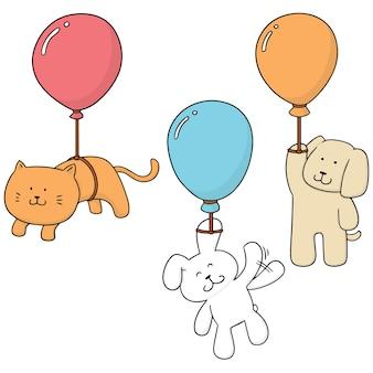 Ensemble de vecteurs d'animal avec ballon