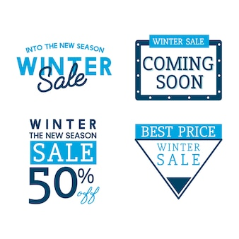 Ensemble de vecteurs de badge vente hiver