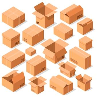 Ensemble de vecteurs de boîtes en carton ouvert vide