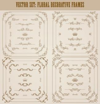 Ensemble de vecteurs de bordures décoratives or