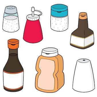 Ensemble de vecteurs de bouteilles de condiments