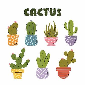 Ensemble de vecteurs de cactus colorés dans des pots colorés avec des contours