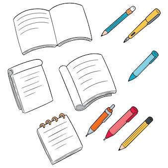 Ensemble de vecteurs de cahier, stylo et crayon