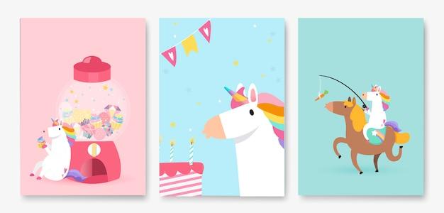 Ensemble de vecteurs de carte d'anniversaire coloré licorne