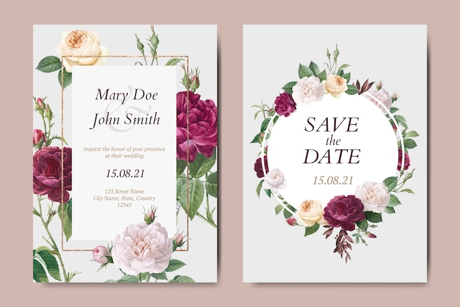 Ensemble de vecteurs de carte invitation mariage floral