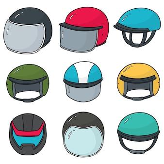 Ensemble de vecteurs de casque de moto