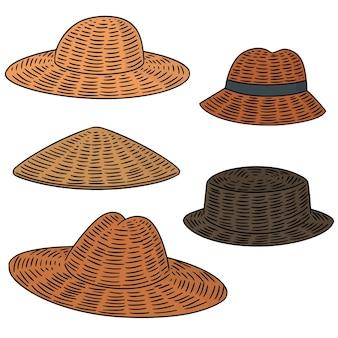 Ensemble de vecteurs de chapeau de paille