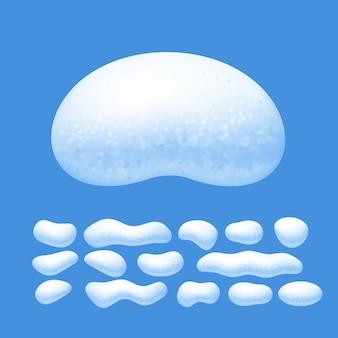 Ensemble de vecteurs de chapeaux de neige isolé sur fond bleu. eps8. rvb. couleurs globales